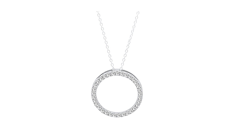 14k white gold & diamond circle pendant necklace