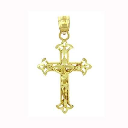yellow gold fleur de lis crucifix pendant