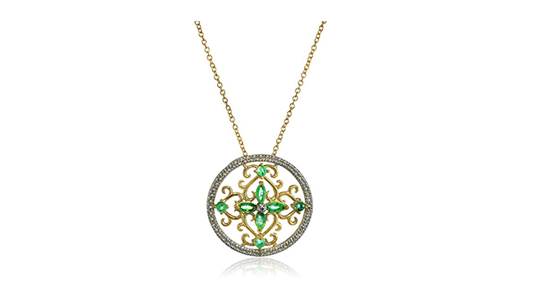emerald and diamond necklace, may birthstone jewelry, emerald jewelry, emerald necklace
