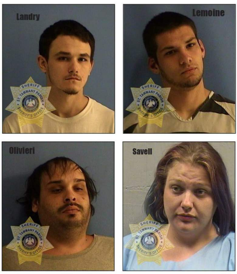 "suspects murder Dustin Hartline Raegan Day, Jason Landry, Brittney ""Beezy"" Savell, Derrion Lemoine, Steven ""Stevie"" Oliviere"