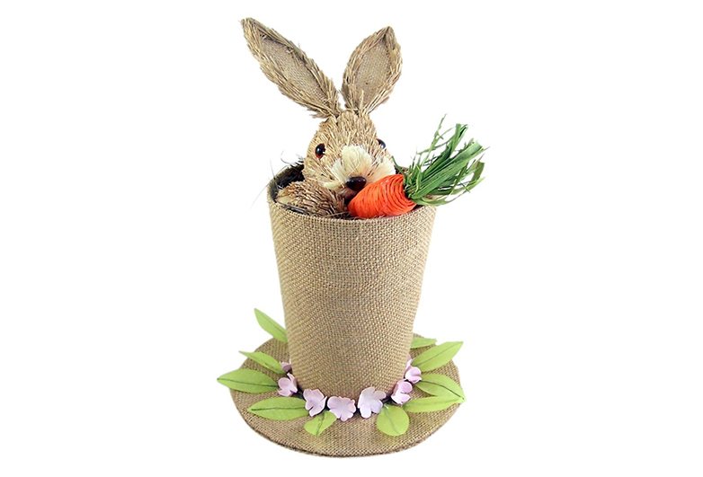 Burlap tap hat with bunny and carrot, Easter centerpieces, Easter tablescape