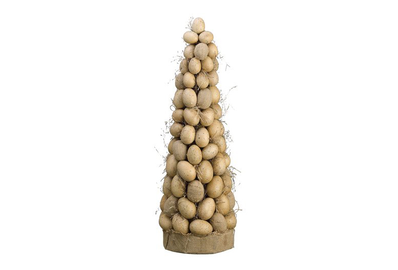Tall tan egg topiary with burlap base, Easter topiary, rustic eater table