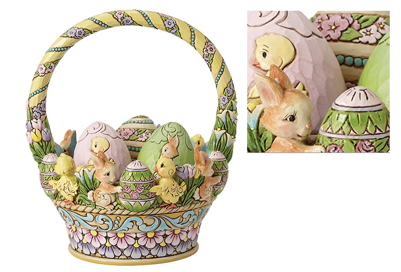 Pastel Easter basket with resin eggs, Jim Shore, Easter centerpieces