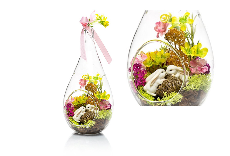 Glass teardrop terrarium with flowers and tiny rabbits, Easter terrarium, DIY easter centerpieces