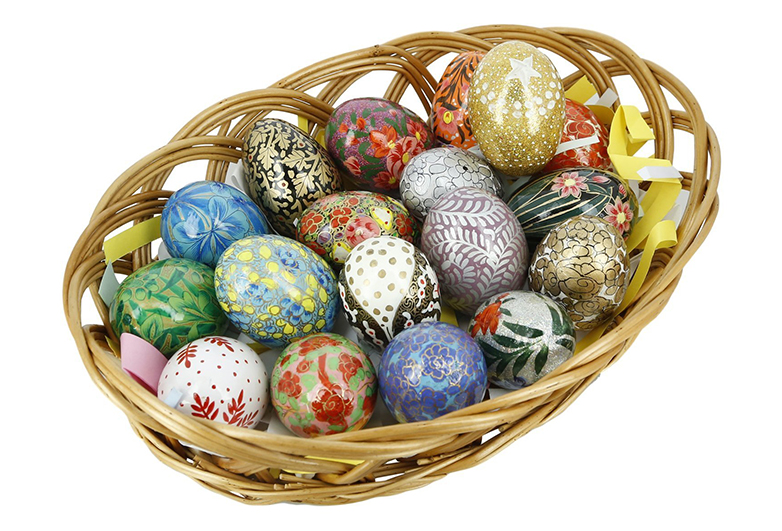 Colorful wooden Easter eggs in woven basket, Eastern European eggs, wooden easter eggs, Easter centerpieces