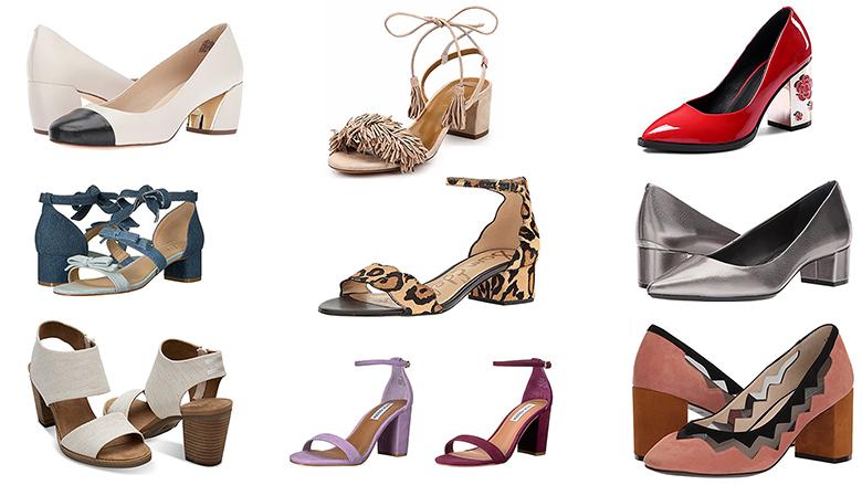 block heels, block heel shoes, block heel sandals, block heel pumps, chunky heels