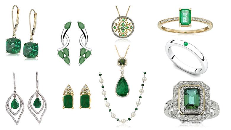 may birthstone jewelry, emerald jewelry, emerald ring, emerald earrings, emerald necklace