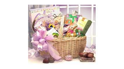 Large pink bunny basket