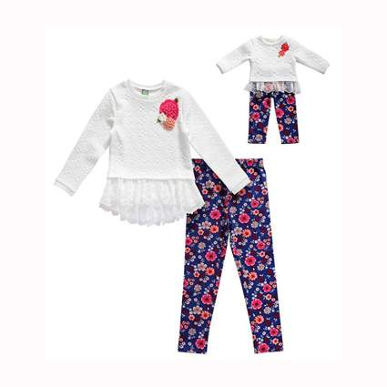 white lace sweater and leggings with matching doll clothes