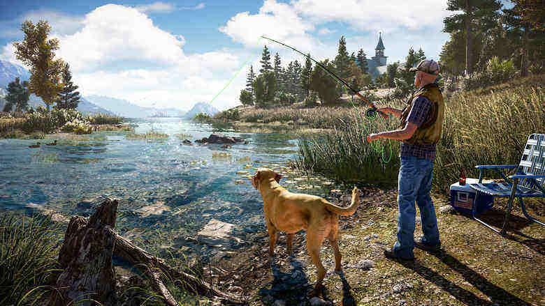 far cry 5 fishing with dog
