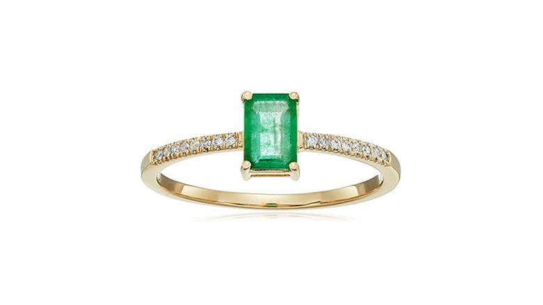 emerald and diamond ring, may birthstone jewelry, emerald jewelry, emerald ring