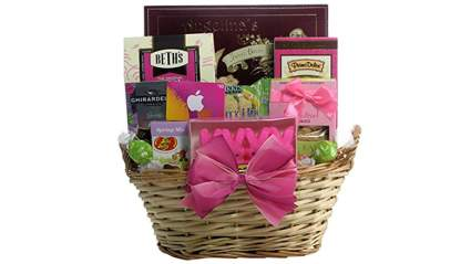light tan gift basket with pink bow