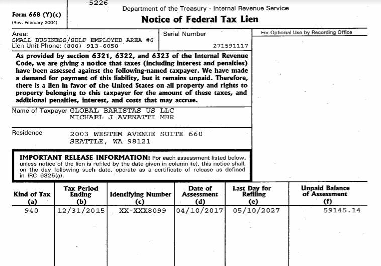 Michael Avenatti tax lien