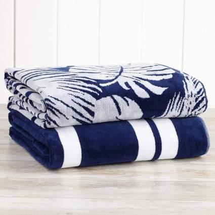 large palm print beach towel