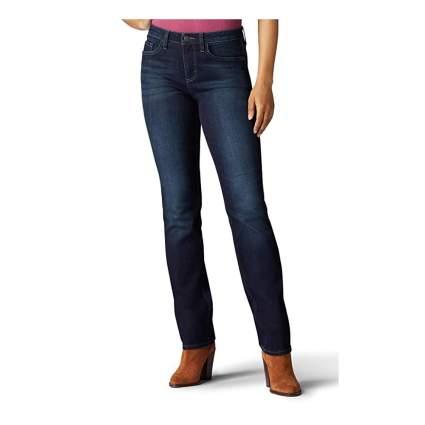 indigo midrise straight leg jeans