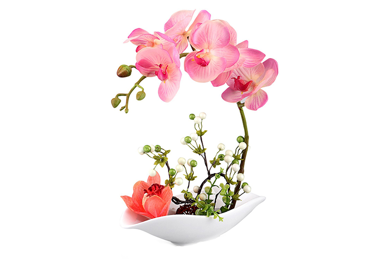 Pink orchid in porcelain bowl, Louis Garden, artificial flowers, easter tablescape