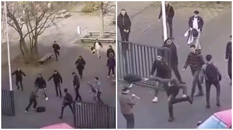 netherlands school knife attack video, dutch students backpack knife attack video