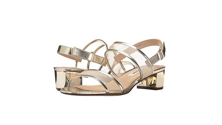 gold sandals, block heels, block heel shoes, block heel sandals