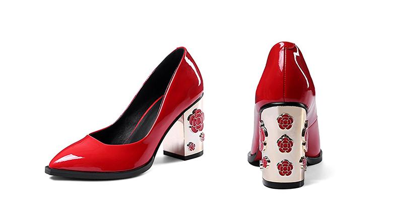 red patent leather pumps, block heels, block heel shoes, block heel pumps