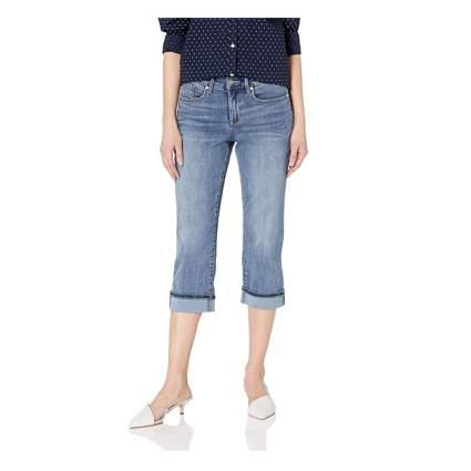 wide cuff mid rise capri jeans