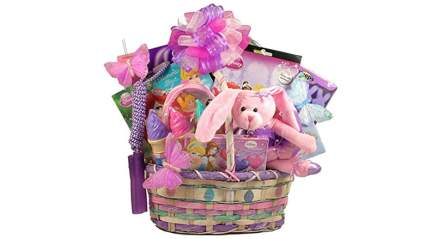 Pink gift basket with bunnies and princesses