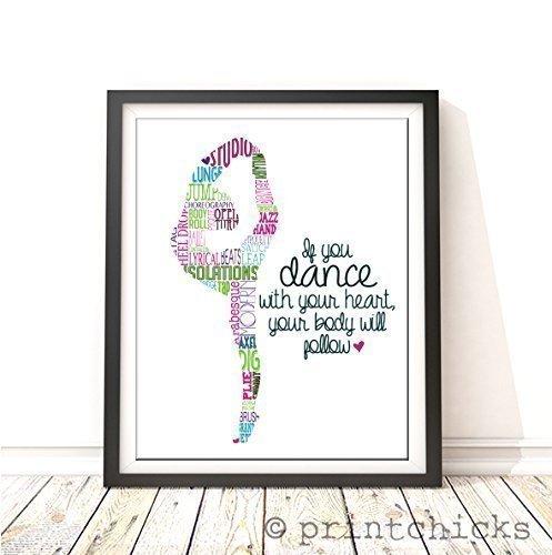 printchicks dance silhouette print, dance room decor, dance poster