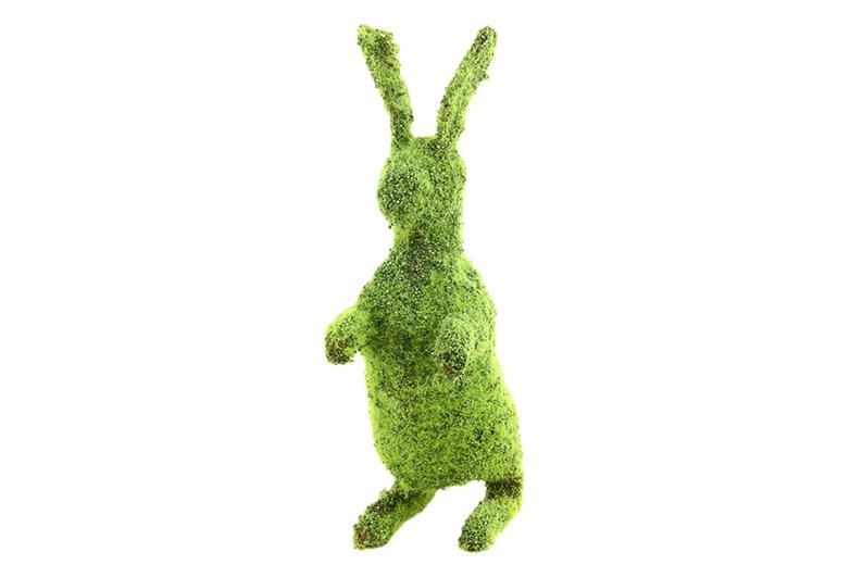 Green moss covered standing rabbit, Easter bunny, Easter garden tablescape, Shinodo Design