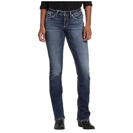 curvy boot cut mid rise jeans