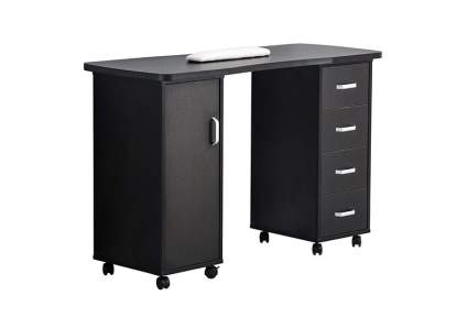 Black nail desk with white armrest and drawers