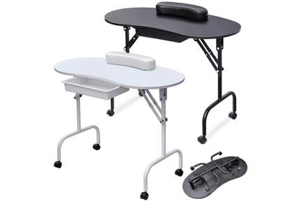 white and black folding nail desks