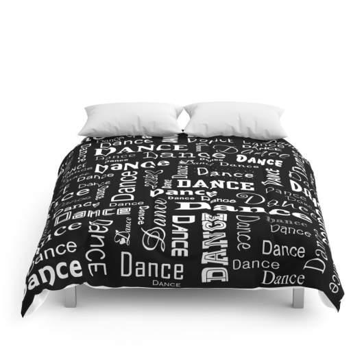 society6 just dance comforter, dance room decor, dancer bedding
