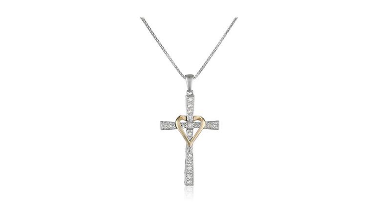 sterling silver & 14k gold diamond heart cross necklace
