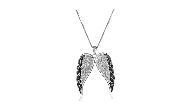 sterling silver black and white diamond angel wing necklace