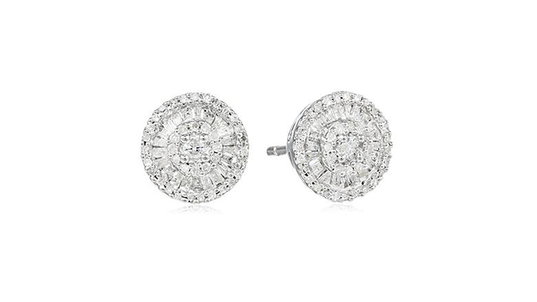 sterling silver & small diamond cluster stud earrings