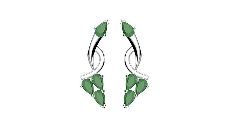 emerald drop earrings, may birthstone jewelry, emerald jewelry, emerald earrings