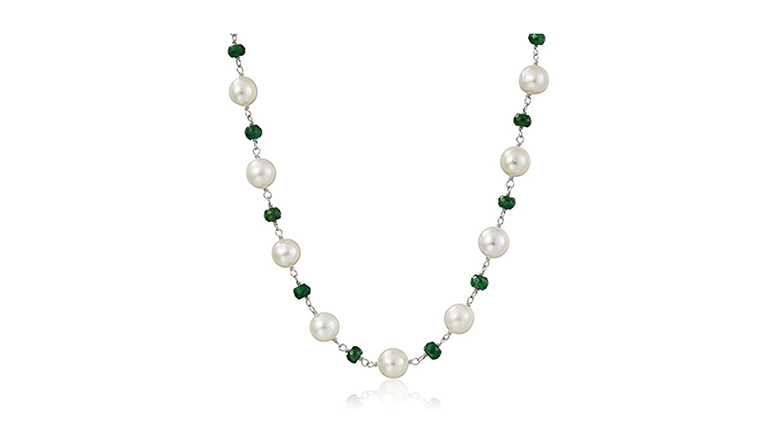 pearl and emerald necklace, may birthstone jewelry, emerald jewelry, emerald necklace