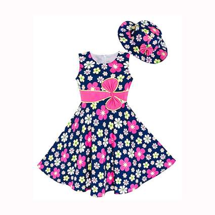 girls navy and pink flowered dress and hat