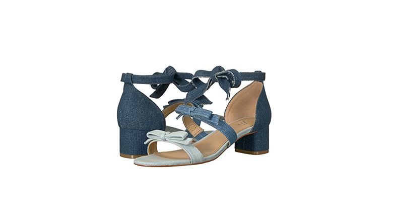 denim heels, block heels, block heel shoes, block heel sandals
