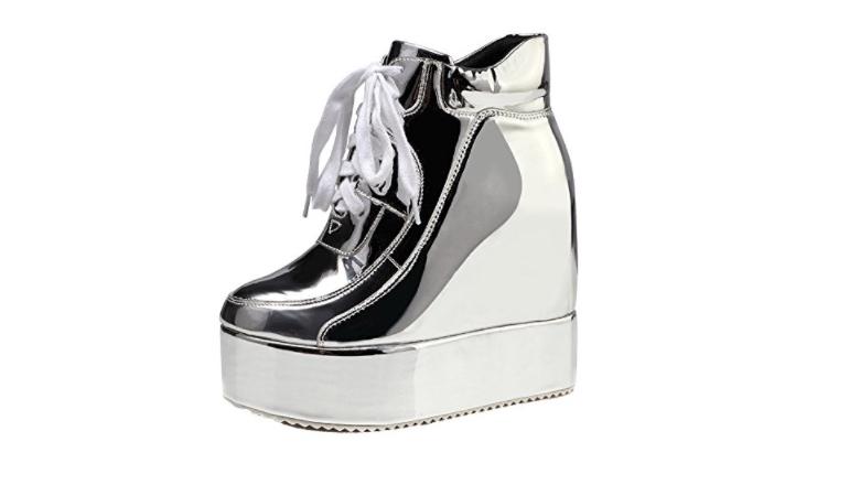 silver platform shoes, metallic platform shoes, platform sneakers, festival shoes