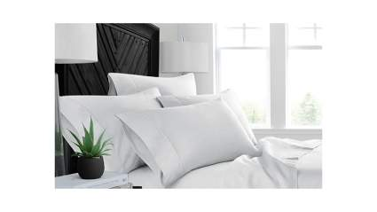 white bed sheets with aloe