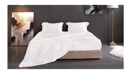 white silk sheet set