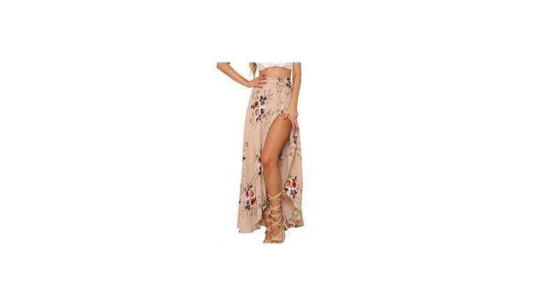 maxi skirt with slit, skirt with slit, festival skirt, festival clothing