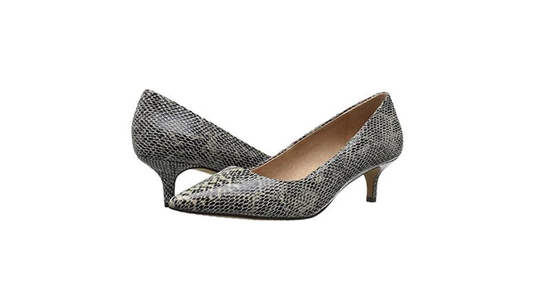 snakeskin heels, kitten heel pumps, kitten heel shoes