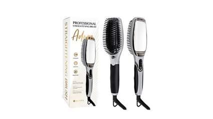 asavea professional hair straightening brush, hair straightening brush, hair straightener brush, ceramic straightening brush