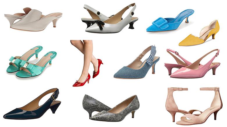kitten heel shoes, kitten heel slingbacks, kitten heel sandals, kitten heel pumps, kitten heel mules
