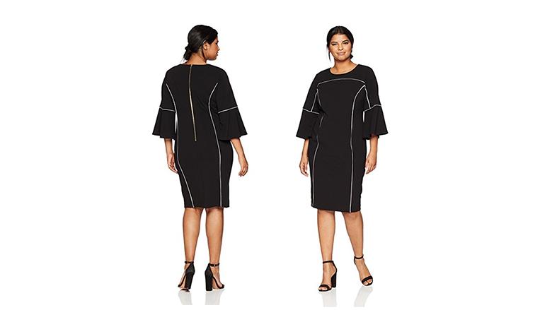 plus size bell sleeve dress, plus size little black dress, plus size black dresses, plus size lbd
