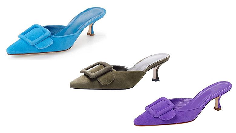 kitten heel mules, kitten heel sandals, kitten heel shoes