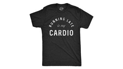 crazy dog t-shirts running late is my cardio t-shirt, Funny running t shirts, Funny workout shirts, Cute running shirts, Funny workout tanks