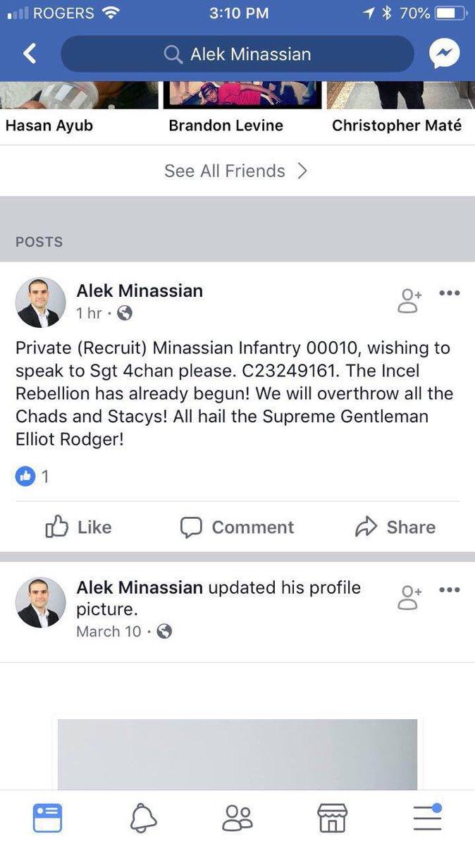 Alek Minassian Facebook page