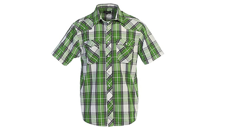 gioberti mens short sleeve plaid western shirt with pearl snap buttons